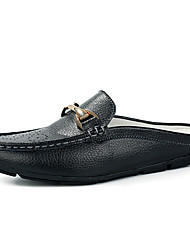 cheap -Men's Moccasin Cowhide Spring / Fall Business / Casual Clogs & Mules Non-slipping Black / White / Blue