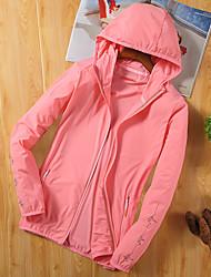 cheap -Women's Hiking Shirt / Button Down Shirts Hiking Skin Jacket Outdoor Portable Sunscreen Fleece Lining Breathable Hoodie Shirt Top Single Slider Camping / Hiking / Caving Traveling Black / White