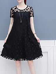 cheap -Women's Slim A Line Dress - Solid Colored Lace Lace Black White M L XL XXL