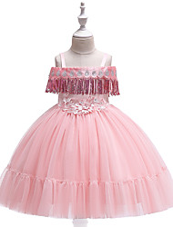 cheap -Princess Knee Length Flower Girl Dress - Tulle Short Sleeve Spaghetti Strap with Appliques / Embroidery / Crystals / Rhinestones