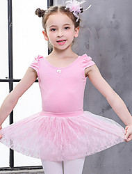 cheap -Kids' Dancewear / Ballet Outfits Girls' Training / Performance Cotton Lace Short Sleeve Natural Leotard / Onesie / Tutus