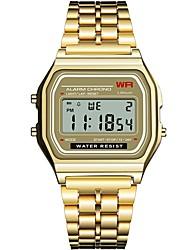 Недорогие -Жен. электронные часы Квадратные часы Блестящие Мода Черный Серебристый металл Золотистый Нержавеющая сталь силиконовый Китайский Цифровой Черный Черный+Белый Золотой / Один год / Секундомер