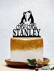 cheap -Cake Topper Classic Theme / Fairytale Theme / Penguin Personalized / Romantic Acrylic Wedding / Birthday with Solid 1 pcs OPP