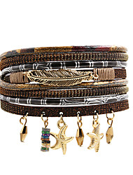 cheap -Women's Charm Bracelet Wrap Bracelet Leather Bracelet Layered Leaf Star Natural Trendy Fashion Boho Colorful Leather Bracelet Jewelry Brown For Gift Daily School Street Holiday / Pendant Bracelet