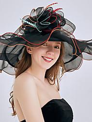 cheap -Tulle / Organza Hats / Headwear with Flower / Trim / Ruffle 1 Piece Wedding / Sports & Outdoor Headpiece