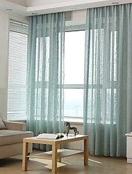 cheap -Solid Color Semi-Sheer One Panel Sheer Study Room / Office   Curtains
