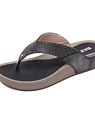 cheap -Women's PU(Polyurethane) Spring & Summer Casual / Sweet Slippers & Flip-Flops Wedge Heel Round Toe Rhinestone Black / Blue / Almond
