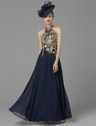 cheap -Sheath / Column Halter Neck Floor Length Jersey Sleeveless Vintage / Plus Size / Elegant Mother of the Bride Dress with Appliques 2020