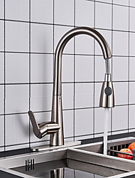 cheap -Kitchen faucet - Single Handle One Hole Nickel Brushed Pull-out / Pull-down / Tall / High Arc Deck Mounted Contemporary Kitchen Taps / Brass