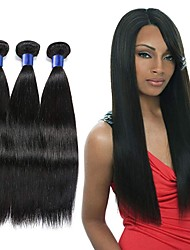 cheap -3 Bundles Indian Hair Straight Remy Human Hair Natural Color Hair Weaves / Hair Bulk Extension Bundle Hair 8-28 inch Natural Color Human Hair Weaves Odor Free Fashionable Design Soft Human Hair