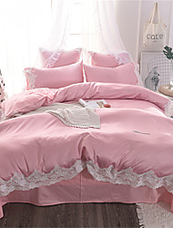 cheap -Duvet Cover Sets Luxury / Solid Colored Polyster Embroidery 4 PieceBedding Sets / 4pcs (1 Duvet Cover, 1 Flat Sheet, 2 Shams)