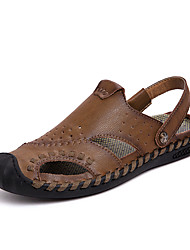 cheap -Men's Comfort Shoes Cowhide Spring & Summer Casual Sandals Breathable Black / Yellow / Burgundy