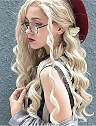 abordables -Perruque Lace Front Synthétique Bouclé Spiral Curl Jenner Partie libre Lace Frontale Perruque Blond Long Blond Cheveux Synthétiques 24 pouce Femme Synthétique Faciliter l'habillage Nouvelle arrivee