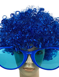 cheap -Burlesque Clown Cosplay Costume Glasses Cosplay Wigs Men's Women's Boys' Movie Cosplay Cosplay Halloween Green / Blue / Pink Glasses Wig Christmas Halloween Carnival Plastics Chemical Fiber