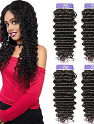 cheap -4 Bundles Malaysian Hair Deep Wave Unprocessed Human Hair 100% Remy Hair Weave Bundles Headpiece Natural Color Hair Weaves / Hair Bulk Bundle Hair 8-28 inch Natural Human Hair Weaves Fashionable