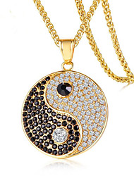 cheap -Men's Cubic Zirconia Pendant Necklace Classic Lucky yin yang Fashion Titanium Steel Gold Silver 60 cm Necklace Jewelry 1pc For Gift Daily