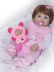 cheap -FeelWind 22 inch Reborn Doll Baby Girl Reborn Baby Doll Kids / Teen Full Body Silicone with Clothes and Accessories for Girls' Birthday and Festival Gifts