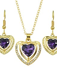 cheap -Women's Drop Earrings Pendant Necklace Geometrical Heart Stylish Luxury Sweet Austria Crystal Earrings Jewelry Purple For Daily 1 set