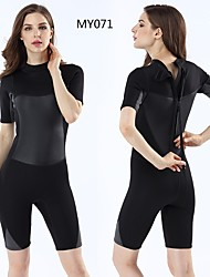 cheap -Women's Shorty Wetsuit 2mm SCR Neoprene Diving Suit Windproof Anatomic Design High Elasticity Short Sleeve Back Zip Solid Colored Spring Summer / Stretchy