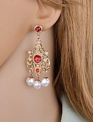 cheap -Women's Cubic Zirconia Drop Earrings Dangle Earrings Classic Classic Vintage European Elegant Imitation Pearl Earrings Jewelry Red / Green For Party Carnival Festival 1 Pair