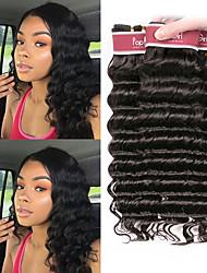 Недорогие -4 Связки Малазийские волосы Глубокий курчавый человеческие волосы Remy 200 g Человека ткет Волосы Пучок волос Накладки из натуральных волос 8-28 дюймовый Естественный цвет Ткет человеческих волос