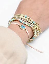cheap -5pcs Women's Bead Bracelet Vintage Bracelet Earrings / Bracelet Layered Heart Evil Eye Classic Vintage Fashion Cute Boho Acrylic Bracelet Jewelry Black / Blue / Pink For Daily School Street Holiday