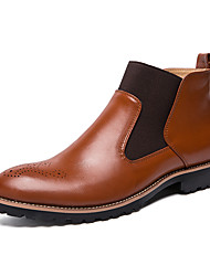 cheap -Men's Boots Business Casual Classic Daily Office & Career PU Breathable Non-slipping Shock Absorbing Black Red Brown Fall Winter