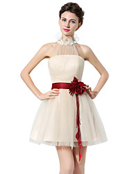 cheap -A-Line Halter Neck Short / Mini Tulle Bridesmaid Dress with Sash / Ribbon