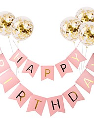 cheap -Holiday Decorations Holidays & Greeting Birthday / Pull Flag Party / Decorative Black / colour bar / Pink 1pc