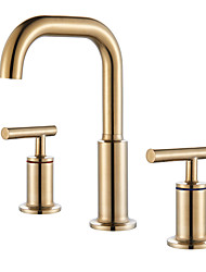 cheap -Bathroom Sink Faucet - Widespread Chrome / Oil-rubbed Bronze / Gold Widespread Two Handles Three HolesBath Taps