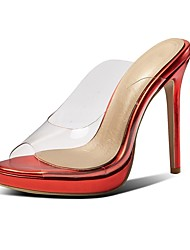 cheap -Women's PU(Polyurethane) Spring & Summer Classic Sandals Stiletto Heel Open Toe Silver / Green / Dark Red / Wedding / Party & Evening / Color Block