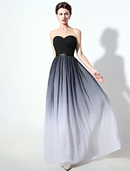 cheap -A-Line Sweetheart Neckline Floor Length Chiffon Open Back / Minimalist Prom / Formal Evening Dress with Sash / Ribbon / Ruched 2020