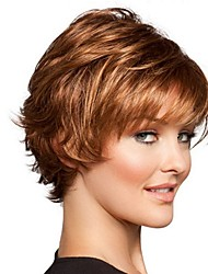cheap -Synthetic Wig Bangs Curly Loose Curl Side Part Wig Short Brown / Burgundy Synthetic Hair 12 inch Women's Fashionable Design Women Synthetic Brown