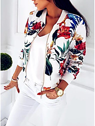 cheap -Women's Classics Ladies 3D Floral Print College Baseball Jacket Track Top