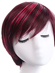 cheap -Synthetic Wig Bangs kinky Straight Side Part Wig Burgundy Short Black / Burgundy Synthetic Hair 12 inch Women's Fashionable Design Smooth Women Burgundy