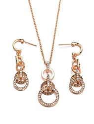 cheap -Women's Cubic Zirconia Drop Earrings Pendant Necklace Two tone Simple Vintage European Elegant bridesmaid Earrings Jewelry Gold For Party Engagement Holiday Festival 3pcs