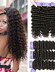 cheap -6 Bundles Malaysian Hair Deep Wave Remy Human Hair Unprocessed Human Hair Headpiece Natural Color Hair Weaves / Hair Bulk Bundle Hair 8-28 inch Natural Natural Color Human Hair Weaves with Baby Hair