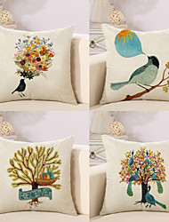 cheap -4 pcs Cotton / Linen Pillow Cover Pillow Case, Botanical Anime Animal Nature Inspired Pastoral