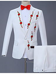 cheap -Men's Plus Size Suits, Floral Peaked Lapel Polyester White / Slim
