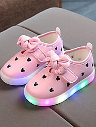 cheap -Girls' LED / Comfort PU Sneakers Toddler(9m-4ys) / Little Kids(4-7ys) Bowknot Black / White / Pink Spring / Fall / Rubber
