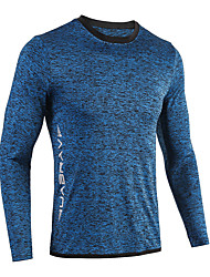 cheap -Men's Hiking Tee shirt Long Sleeve Outdoor Breathable Quick Dry Soft Sweat-Wicking Tee / T-shirt Top Spring Summer POLY Crew Neck Running Fishing Exercise & Fitness Dark Grey Blue Dark Blue