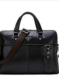 cheap -Men's Zipper Cowhide Briefcase Black / Brown