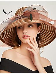 cheap -Imitation Pearl / Organza Fascinators / Headwear / Headdress with Rhinestone / Bowknot / Floral 1 Party / Evening / Outdoor Headpiece