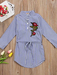cheap -Kids Toddler Girls' Active Basic Striped Floral Embroidered Print Long Sleeve Knee-length Dress Light Blue / Cotton
