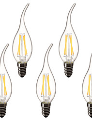 cheap -5pcs 3 W LED Candle Lights LED Filament Bulbs 300 lm E14 C35L 4 LED Beads High Power LED Decorative Warm White 220-240 V 220 V 230 V