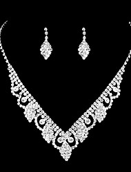 cheap -Women's White Cubic Zirconia Necklace Earrings Bridal Jewelry Sets Vintage Style Stylish Classic Earrings Jewelry Silver For Wedding Party 1 set