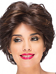 cheap -Synthetic Wig Bangs Curly Free Part Wig Short Brown / Burgundy Synthetic Hair 12 inch Women's Fashionable Design Women Synthetic Brown