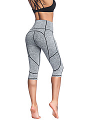 cheap -Women's High Waist Yoga Pants Capri Leggings 4 Way Stretch Breathable Moisture Wicking Sillver Gray Black Non See-through Gym Workout Sports Activewear High Elasticity Skinny