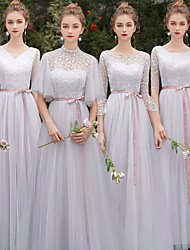 cheap -A-Line Jewel Neck Floor Length Tulle Bridesmaid Dress with Sash / Ribbon / Appliques