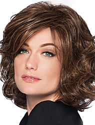 cheap -Synthetic Wig Bangs Curly Side Part Wig Medium Length Brown / Burgundy Synthetic Hair 10 inch Women's Women Synthetic Easy dressing Dark Brown